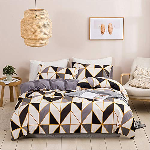 Ouduo Bedding Sets for Single Double King Size Bed,Soft Microfiber Fabric Duvet Cover Sets with Quilt Cover & Pillowcases for Adult Teenager Girls Boys (Golden Border,135x200cm-2 Pieces)