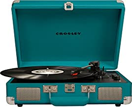 Crosley CR8005D-TL Cruiser Deluxe Vintage 3-Speed Bluetooth Suitcase Turntable, Teal