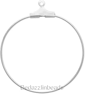 10 Silver Beading Hoop Earring Finding Components With Loop Plated Brass Metal (40mm)