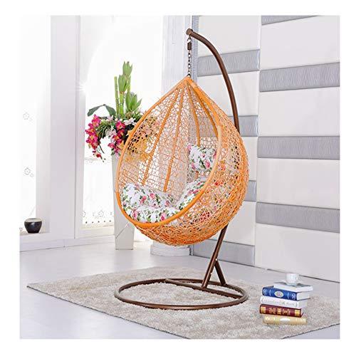 LEJZH Rotan Opknoping Swing Chair,Weave Egg Patio Tuinstoel, met Kussen, 200Kg Capaciteit Outdoor Tuinmeubelen