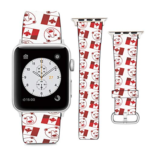 Compatible with Apple Watch Wristband 42mm 44mm, (Flag of Canada and Bears) PU Leather Band Replacement Strap for iWatch Series 5 4 3 2 1