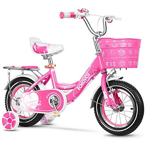 Niños de bicicletas niños bicicleta con ruedas de entrenamiento, 12/14/16/18 Classic Light pulgadas pedal del niño de la bicicleta con asiento regulable en altura y asa for niños, niños y niñas de 2-9