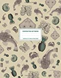 Vintage Sea Life Animals Pattern Green: Ocean Composition Notebook College Ruled With Squid, Manta Ray, Crabs, Shells And Octopus 8.5x11' LARGE 100 Lined Pages