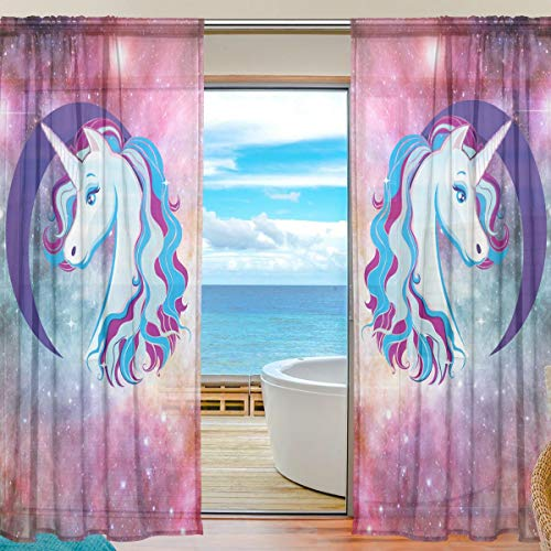 Emoya Durchsichtige Vorhänge Einhorn Mond Galaxy Voile Transparent Vorhänge mit Stangentasche Schlafzimmer Wohnzimmer Dekor 2 Paneele 140 x 198 cm Tropfen