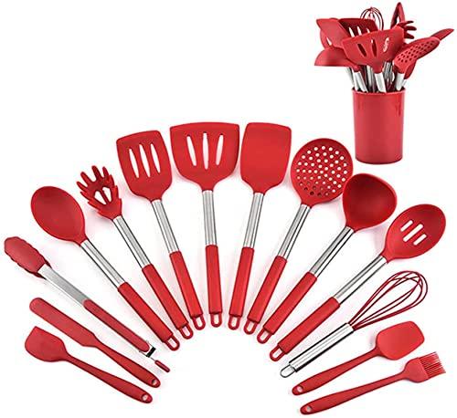 ksamwjf Juego de Utensilios de Cocina para cocinar, Juego de Utensilios de Silicona con Mango de 15 Piezas, Resistente al Calor y Antiadherente, Rojo