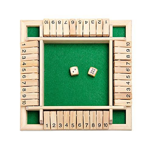 GASFW Juego de dados de Shut The Box 2-4 jugadores, clásico juego de mesa de madera de 4 lados con 2 dados Big Game Hunters Classics versión de mesa y juego de mesa de pub
