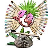 Lote de 24 cepillos de dientes manuales de bambú Pack FAMILIAL- Sedas flexibles biosaurias, diseño ergonómico, natural, sólidos, duraderos, sin BPA, VEGANOLÓGICO para una sonrisa ecoresponable