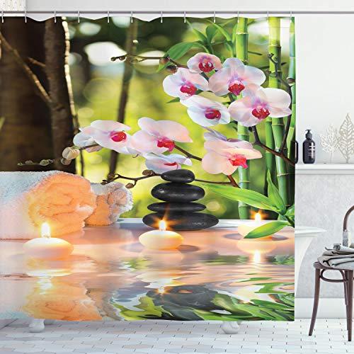 ABAKUHAUS Spa Duschvorhang, Spa mit Kerzen Orchideen, mit 12 Ringe Set Wasserdicht Stielvoll Modern Farbfest & Schimmel Resistent, 175x220 cm, Hellgrün Fuchsienfarben
