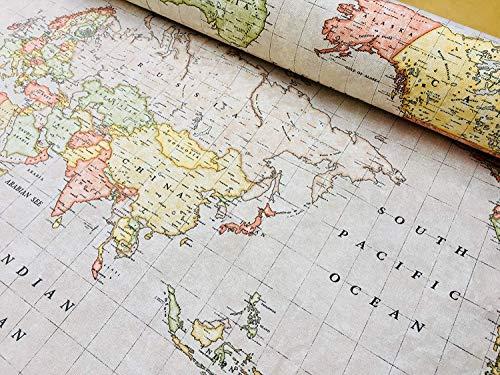 BEIGE WORLD MAP Designer Katoen Stof Travel Globe Materiaal - voor Gordijnen, Jurken, Home Decor, Bekleding
