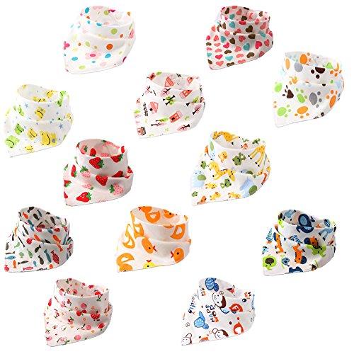 BBM 12pcs Baberos Bebe Baberos Bandanas Recién Nacido Bufandas de Algodón Diseño de Animales para Bebés y Niños El grosor es Adecudo