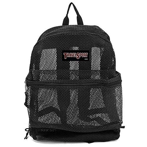 Travel Mesh Transparent See Through Mesh Backpack/School Bag (Black)