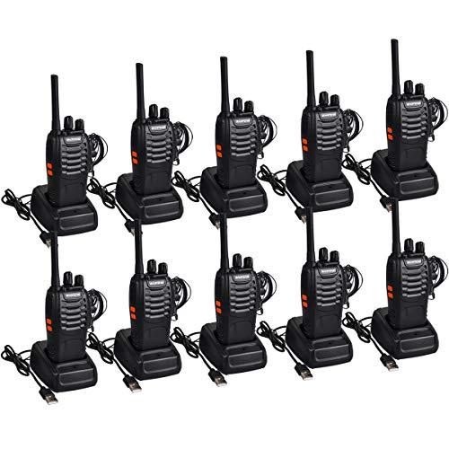 Funkprofi Walkie Talkie Set, Funkgeräte 16 Kanäle Reichweite 5 km Wireless Professionelle Hand-Funkgerät Dual Band Radio CTCSS/DCS Rauschsperre 400-470 MHz mit Headset (5 Paar 88E)