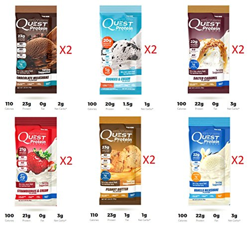 Quest Nutrition Protein Powder, Soy Free, 12 Pack of 0.99 oz Packets (2 of Each Flavor inside the box)