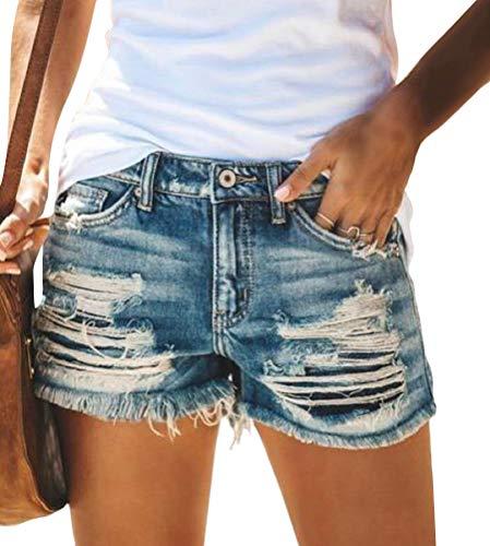 OranDesigne Damen Jeans Bermuda Shorts Sommer Jeansshorts High Waist Denim Kurze Hose Strecken Zerrissen Roher Saum Denim Kurze Jeans 01 Marine Medium
