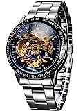 Alienwork IK Reloj Mecánico Automático Relojes Automáticos Hombre Mujer Acero Inoxidable Plata...