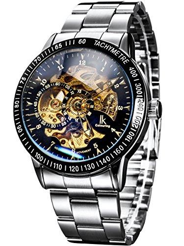 Alienwork IK Reloj Automático Hombre Mujer Plata Pulsera de Metal Acero Negro Esqueleto