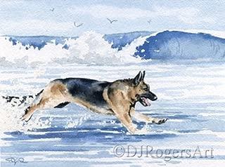German Shepherd At the Beach Art Print by Watercolor Artist DJ Rogers