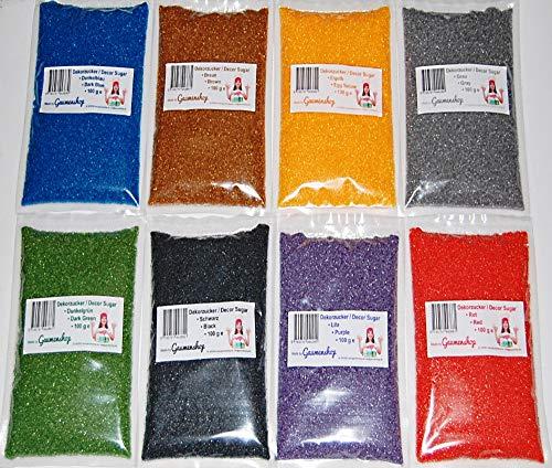 Premium Zucker 8 x 100g Dekorzucker Dunkelblau, Braun, Eigelb, Grau, Dunkelgrün, Schwarz, Lila, Rot auch für bunte Zuckerwatte