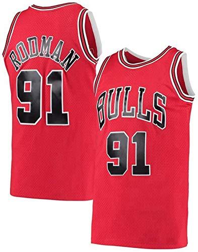 GLACX Jersey Men's NBA Chicago Bulls 91# Rodman (Estilo 2) Vintage Jersey, Tejido Fresco Transpirable, Ventilador de Baloncesto Unisex Sin Mangas Sport Chalt Top,A,M