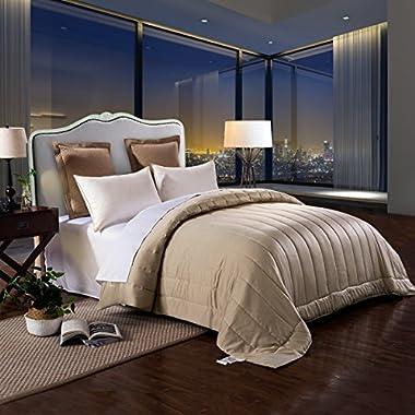 HONEYMOON HOME FASHIONS Matte Satin 88  x 90  Hypoallergenic Down Alternative Comforter, Queen, Sand