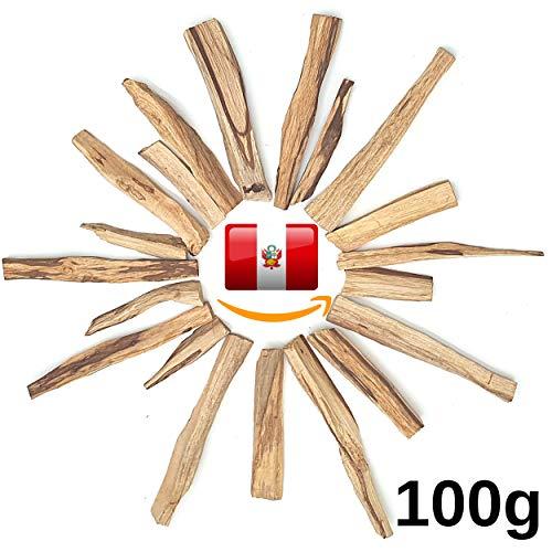 Mi-Tierra Premium Palo Santo Räucherstäbchen Räucherholz - Heiliges Holz Bursera Graveolens Zertifiziert Original aus Peru - Räucherwerk Weihrauch Holy Wood - 100% Natur (100g gespalten)