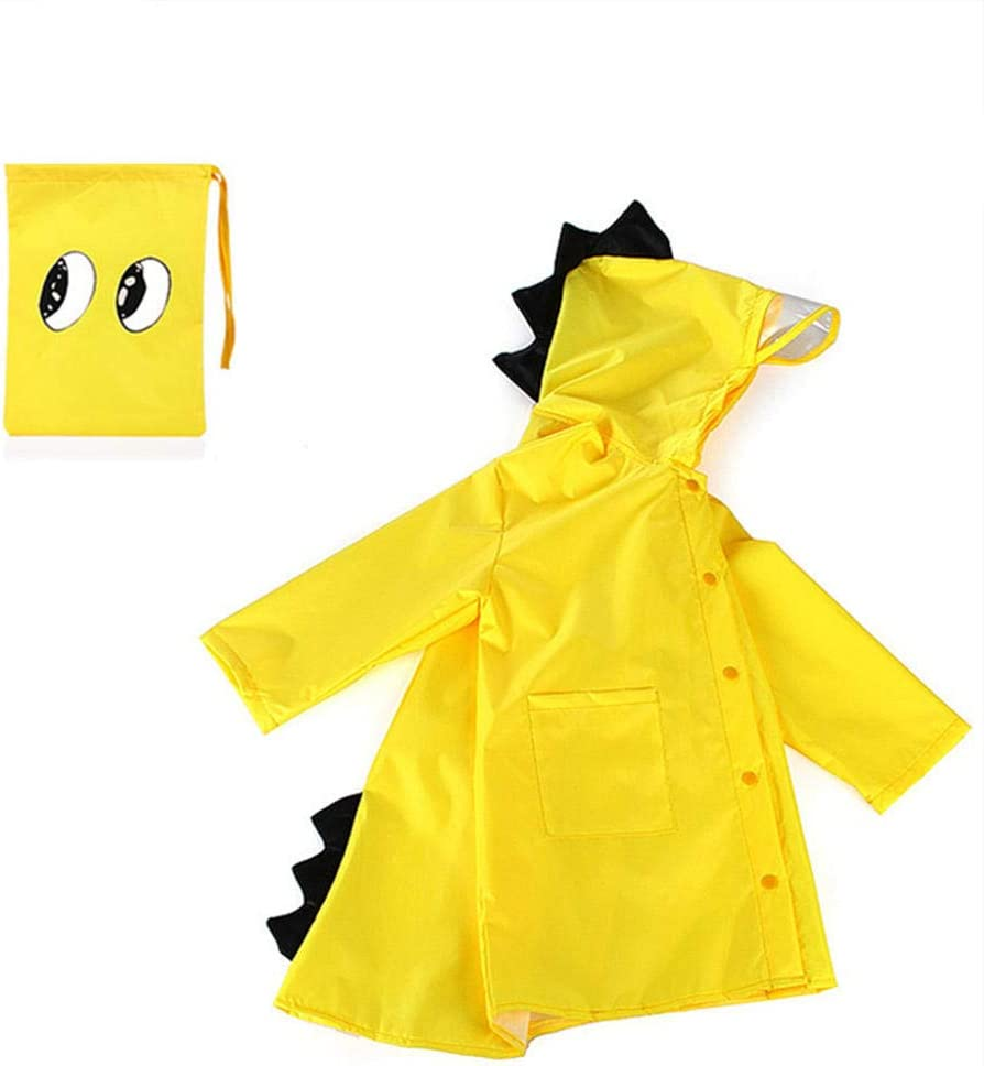 Waterproof polyester raincoat,children impermeable poncho,raincoat for boys and girls-yellow-L