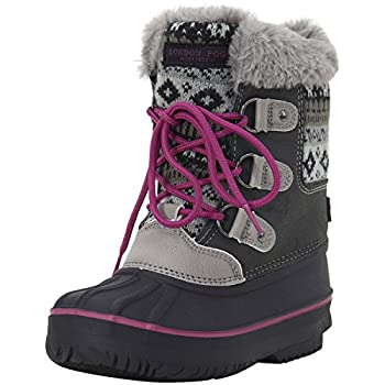 LONDON FOG Girls Tottenham Cold Weather Snow Boot GY/PK Size 2