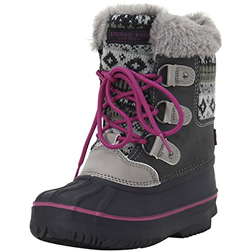 LONDON FOG Girls Tottenham Cold Weather Snow Boot GY/PK Size 12