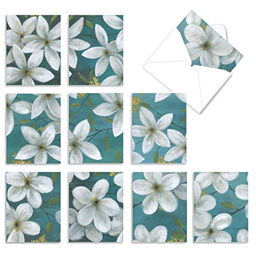 The Best Card Company - 10 Blank Flower Cards Boxed (4 x 5.12 Inch) - Assorted Floral Notecard Set - All That Jasmine M6020