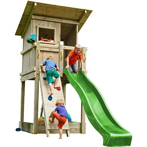 Blue Rabbit 2.0 Spielturm BEACH HUT mit Rutsche + Kletterwand Fernrohr Lenkrad Kletterturm Holzturm aus Kiefer MASSIVHOLZ imprägniert (Grün)