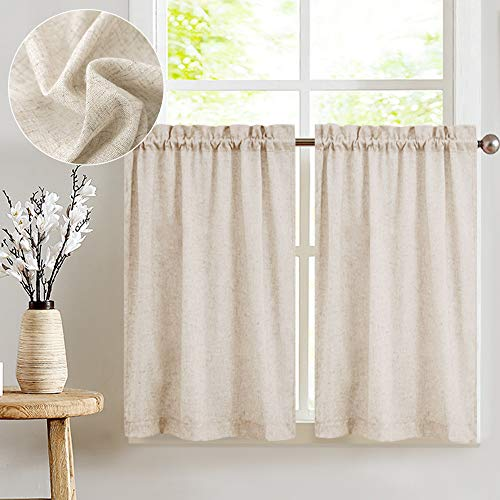 jinchan Tier Curtains Linen Textured 36 Inches Long Curtains for Kitchen Small Cafe Curtains for Window Treatment Set 2 Panels Crude