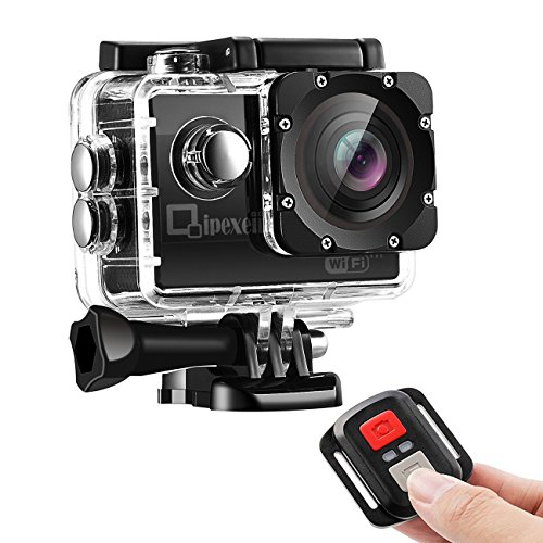 WiFi sport Action Camera, Qipexeii 1080p FHD impermeabile 12MP schermo da 5,1cm con 2.4G telecomando ,19kit di montaggio, 2pz 1050mAh batterie ricaricabili e portatile pacchetto