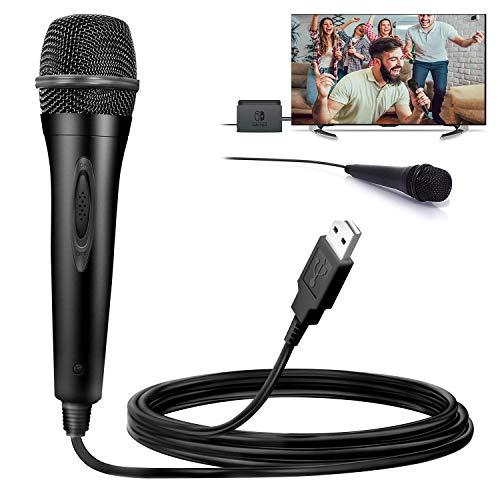 Micrófono USB para Nintendo Switch, Compatible con Juegos Karaoke de PS4 / PS3 / Xbox One / PS2 / PS3 / Wii / PC, Cable de 3 m - Negro