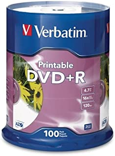 Wholesale CASE of 5 - Verbatim White Inkjet Printable DVD+R-DVD+R, 16x, 4.7GB, Inkjet Printable, 100/PK, White