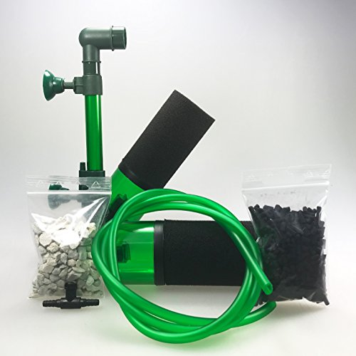 Guemmer products Schwammfilter Aquarium für biologische und mechanische Filterung (100P), Aquarien Filter für Becken bis 60 Liter mit Bioaktivkammern für Filtermedien