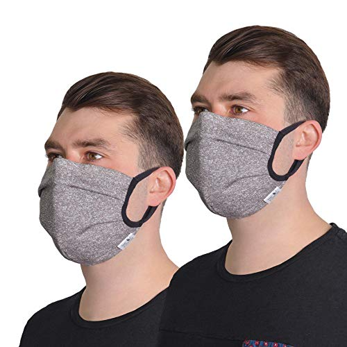 FEELPROTECTED® [2er-Set] Schutzmasken | Öko-Tex-Baumwolle 2-lagig | extra Silberinonen-Beschichtung | L/XL -Grau | wiederverwendbar waschbar ERGO PLUS [MADE IN EU]