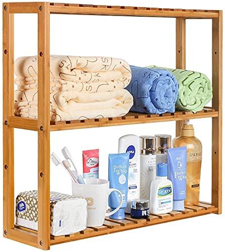 Bambus Badregal Wandregal Kücheregal hängeregal küche 3 Ablage Badezimmer Verstellbaren Höhe Aufbewahrung Wandschrank für Küche Wohnzimmer 60 x 15 x 54 cm (Bambus)