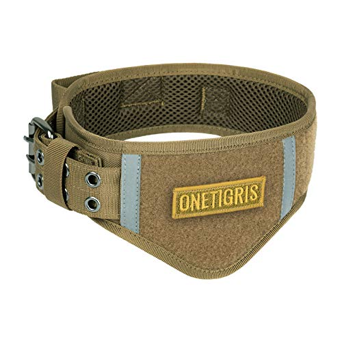 of leather dogs dec 2021 theres one clear winner OneTigris Tactical Dog Collars Adjustable Military Heavy Duty Collar Metal Buckle with Control Handle for Dogs (Coyote Brown,L)