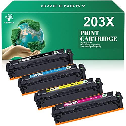 GREENSKY Kompatible für 203X CF540X 203A CF540X Toner für HP Color Laserjet Pro MFP M281fdw M281fdn M280nw M254nw M254dw M280cdw M254dn (Schwarz Cyan Gelb Magenta)