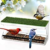 Comedero para Pájaros, Comedero Pájaros Comedero para Ventana con 3 Ventosas, Transparente en Acrílico con Techo de Prados Artificiales Comedero para Pájaros/Casa