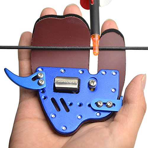 SHARROW Archery Aluminum Finger Tab Hunting Finger Protector Guard RH/LH for Recurve Bow Shooting Gear(Blue, Right Hand)