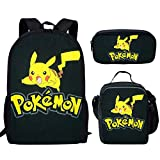 spArt Anime Pikachu Sac à dos d'école, sac à bandoulière, boîte à déjeuner, trousse à crayons 3 pièces, Pokémon A9. (Multicolore) - sp-cgk