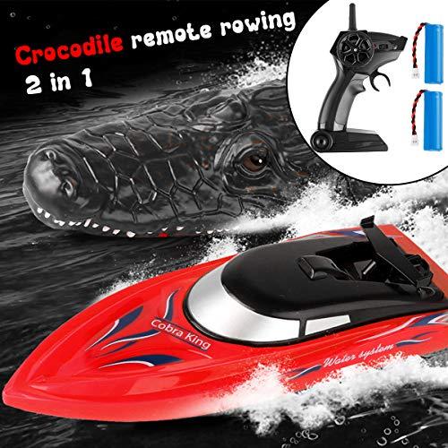 2 in 1 Fernbedienungsboot Elektro-Rennboot RC-Schnellboot mit RC-Krokodilkopf und 2 Austauschbaren Batterien Wasserschwimmendes Parodie-Spielzeug für Pool Lake Pond Garden Patio Home Decoration