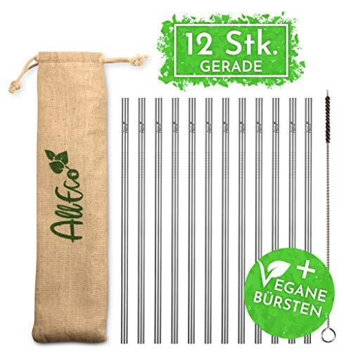 AllEco Strohhalm wiederverwendbar Edelstahl 12er Set + Reinigungsbürste + Eco-Beutel - Premium-Qualität, umweltfreundlich, nachhaltig, wiederverwendbar & plastikfrei (12 gerade)