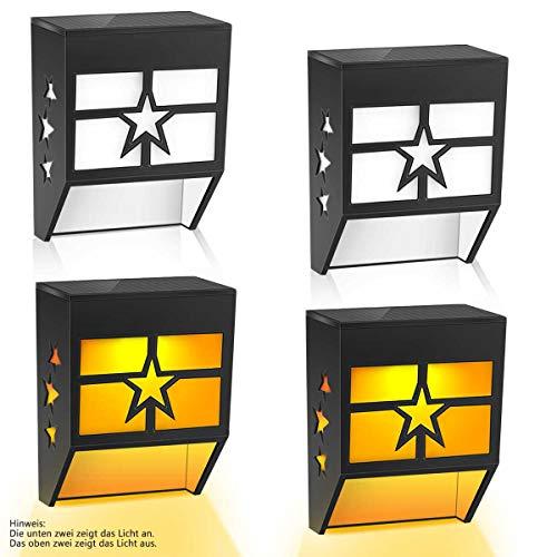 Solarlampen für Außen, Solarlampen für garten, Wandleuchte Solar Außen, Beleuchtung Wandlampe LED Solarlicht Außenleuchten für Garten, Balkon, Terrasse 4 Stück