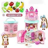 KEIT De Colores Casa de muñecas, Magic Castle House, la muñeca Plegable de Tres Pisos Villa Jugar a Las Casitas de Chicas Juguetes for Regalo Sorpresa Fuerte atracción