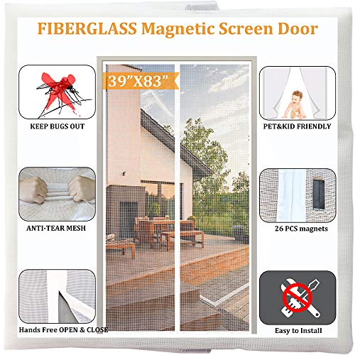 Magnetic Mesh Screen Door,White Anti-Tear Fiberglass Mesh Fly Door net with 26pcs Powerful Magnets Build-in, Fits Door Size up to 38'x82' Max, Pet and Kid Friendly