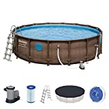 Bestway Power Steel Pool Swim Vista Serie 488 cm x 122 cm, rund, mit Zubehör Piscina, marrón, 488 x 122 cm