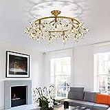 Iluminación de techo para interiores, con diseño de flores de cristal LED, para hotel, sala de estar, dormitorio, comedor, lámpara de techo, color dorado 60 x 60 x 30 cm
