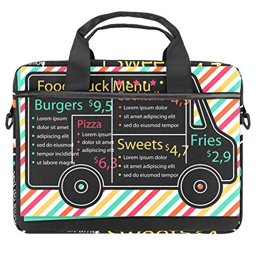 Classic Slim Business Professional Travel and Commuter Bag for 14.5-Inch Laptop Hand-Painted Food Truck Pattern
